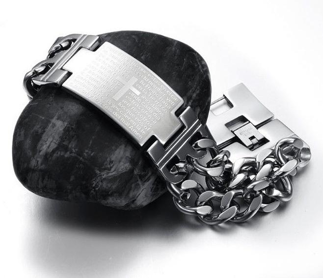 BM256 Массивный стальной браслет - цепь с широкой пластиной с крестом и молитвой (22 см) фото 02