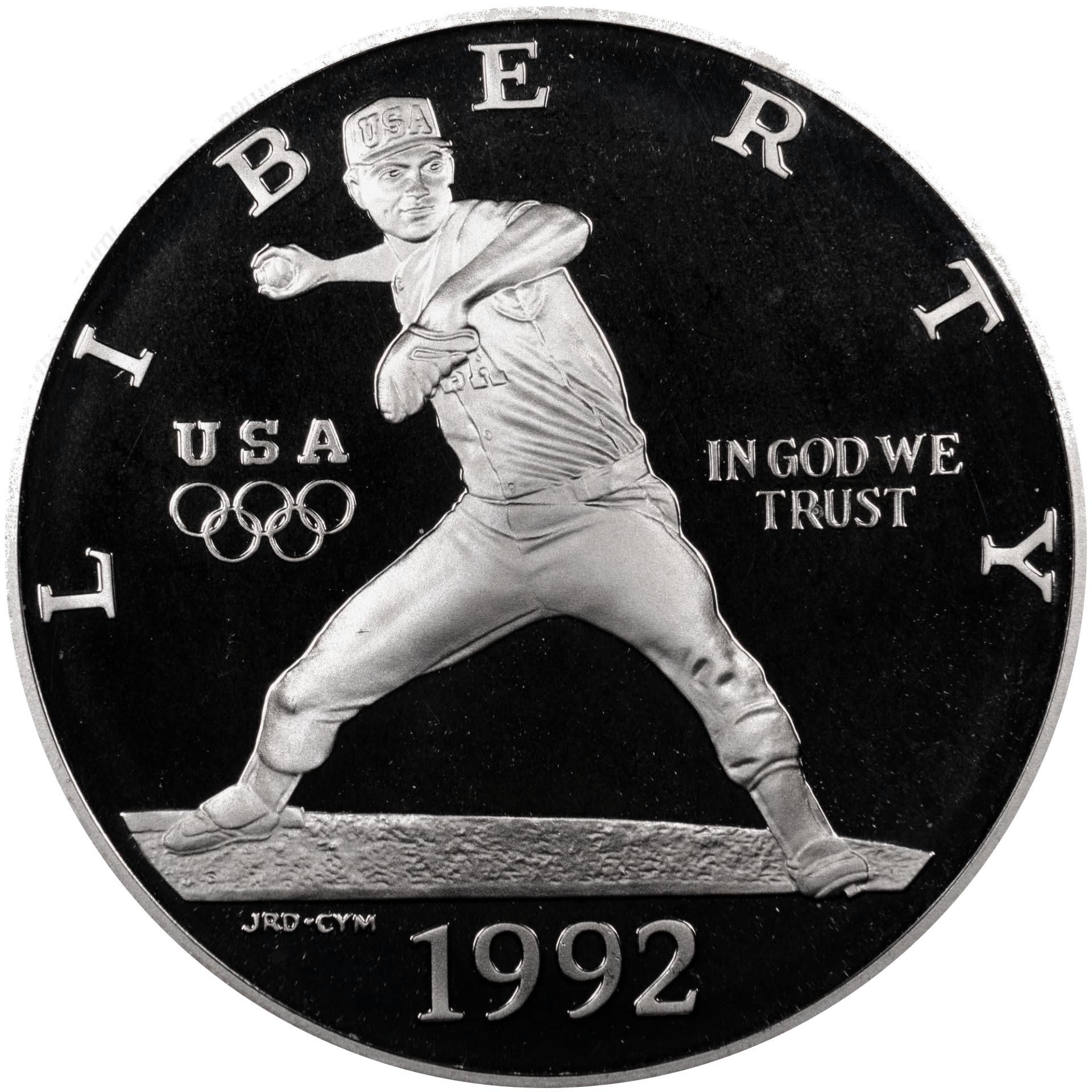 1 доллар. XXV Летние Олимпийские игры 1992 года в Барселоне. Бейсбол (S) 1992 г. PROOF Серебро