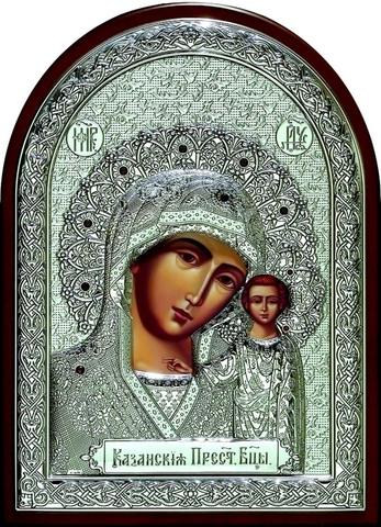 Серебряная инкрустированная гранатами икона Божией Матери Казанская 34х25см в подарочной коробке