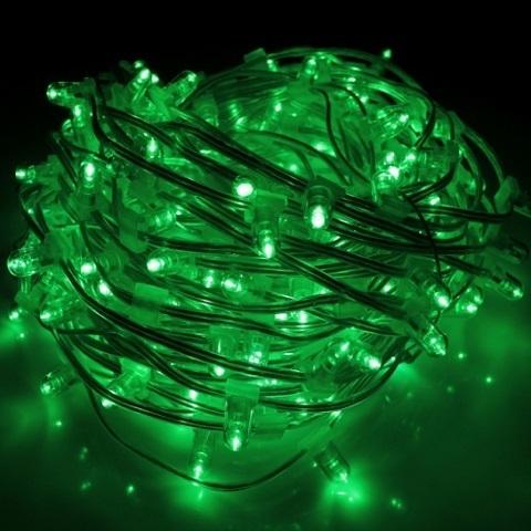 Клип лайт Зеленый Мерцающий, комплект с трансформатором, 30 метров, IP65, прозрачный провод с колпачком