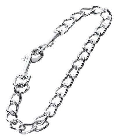 Серебристая соединительная цепочка с двумя карабинами