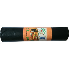 Мешки для мусора на 35 литров черные (20 мкм, в рулоне 30 штук, 50x64 см)