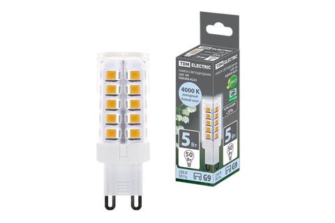 Лампа светодиодная G9-5 Вт-230 В-6500 К, SMD, 16x49 мм TDM