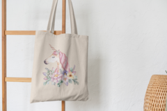 Сумка-шоппер с принтом Единорог (Unicorn) бежевая 001