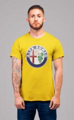 Мужская футболка с принтом Альфа Ромео (Alfa Romeo) желтая 001