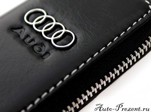 Кожаный чехол для ключа с логотипом AUDI