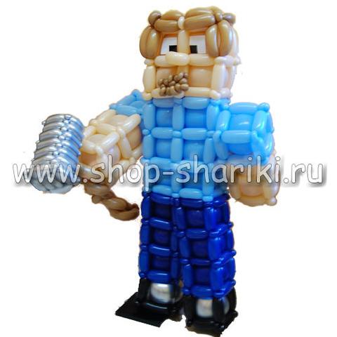 фигура из шаров Стив из Minecraft.