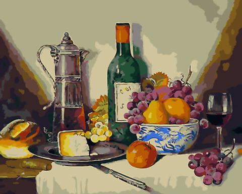 Картина раскраска по номерам 50x65 Натюрморт с вином