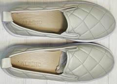 Стеганые туфли слипоны кожаные женские Alpino 21YA-Y2859 Cream.
