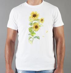 Футболка с принтом Цветы (Подсолнухи) белая 001
