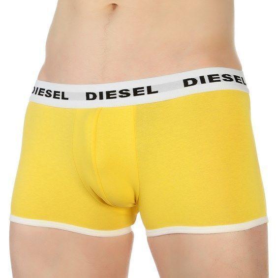Мужские трусы боксеры желтые с белой резинкой Diesel