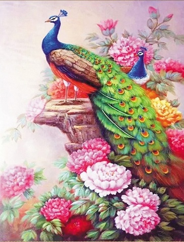 Алмазная Мозаика 40x50 Павлины в цветах (арт. HWSA5145)