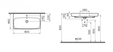 Раковина VitrA Metropole 5663B003-0001, 80х46 см
