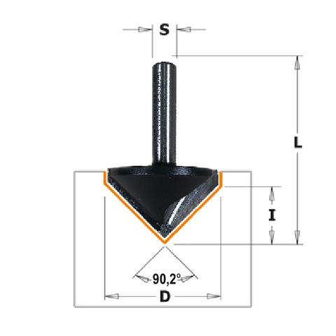 Фреза V- образная для углового соединения V 90,2° S=8 D=37x18,3x58 RH