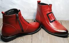 Купить кожаные ботинки женские демисезонные Evromoda 1481547 S.A.-Red
