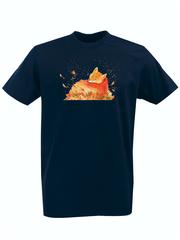 Футболка с принтом Лиса (Лисенок, fox) темно-синяя 001