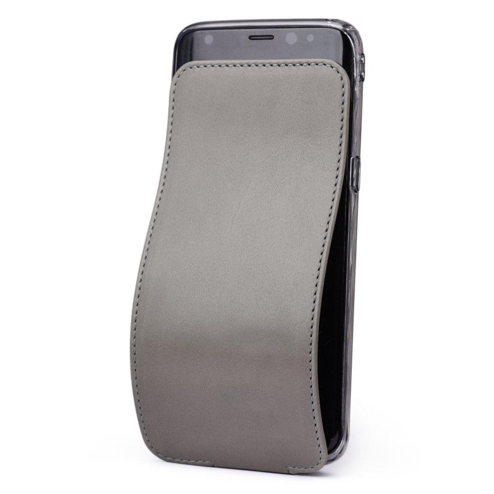 Чехол для Samsung Galaxy S8 Plus из натуральной кожи теленка, светло-серого цвета