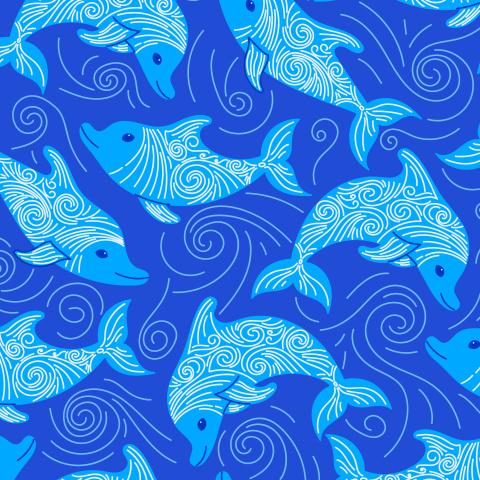 Дельфины и волны