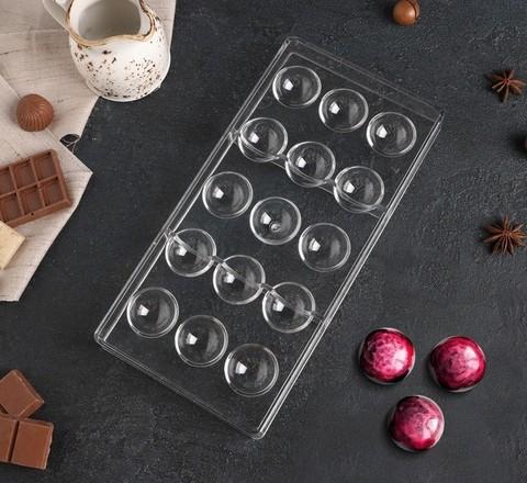 Форма для шоколада «Полусфера», 28×14 см, 15 ячеек, d=3 см
