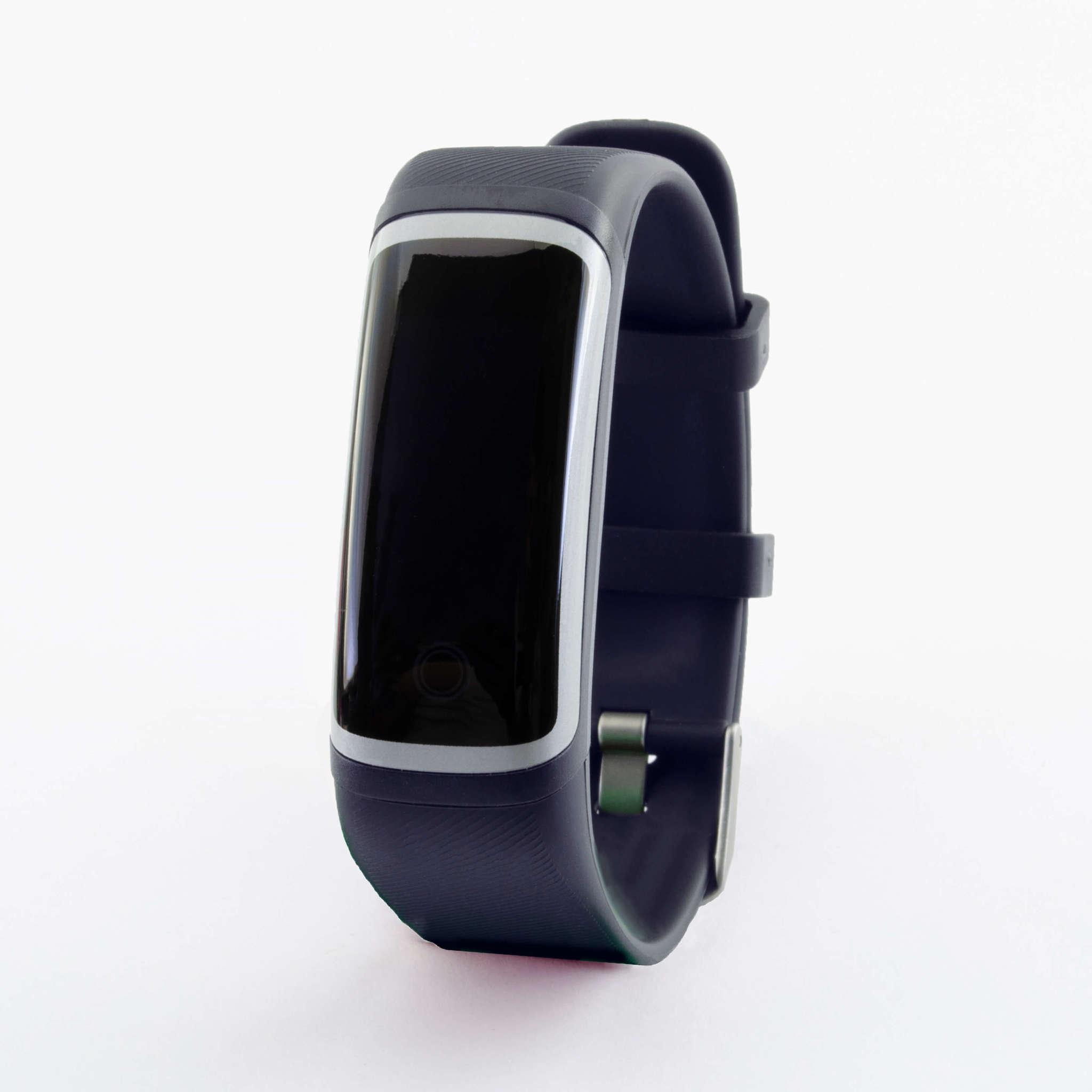 Браслет здоровья с автоматическим измерением температуры, давления, пульса и кислорода Health Band №4 (сине-серебристый)