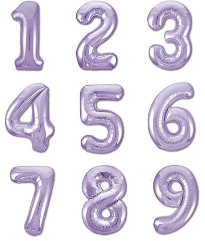 Лавандовые цифры 102 см с гелием