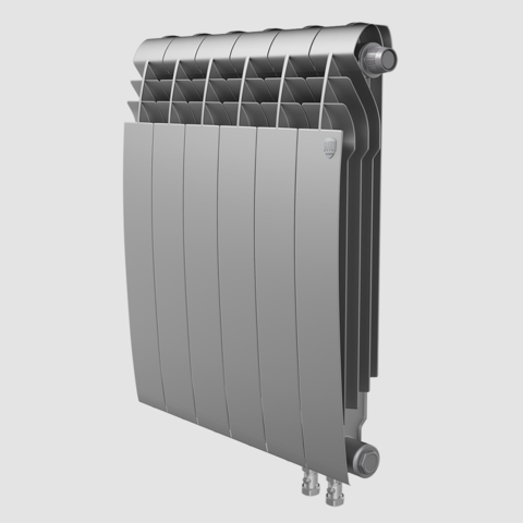 Биметаллический радиатор с правым нижним подключением Royal Thermo Biliner 500 V Silver Satin (серебристый)- 12 секций