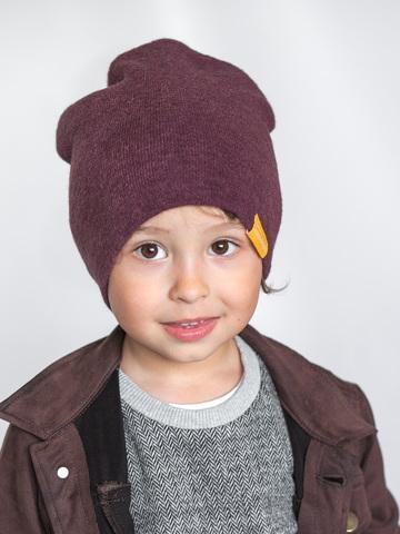 детская шапка из турецкой шерсти темно-лавандовая