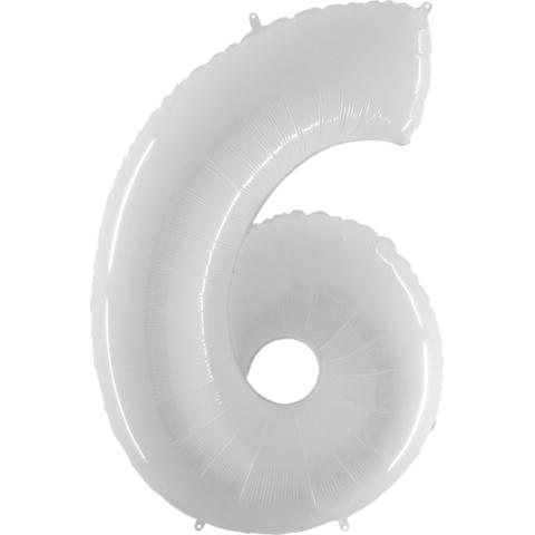 Шар (40''/102 см) Цифра 6 Белый