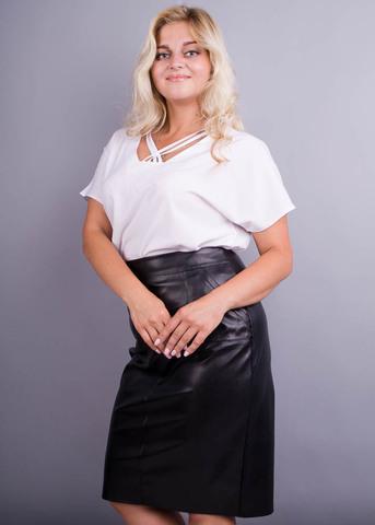 Маина. Офисная блуза больших размеров. Белый.