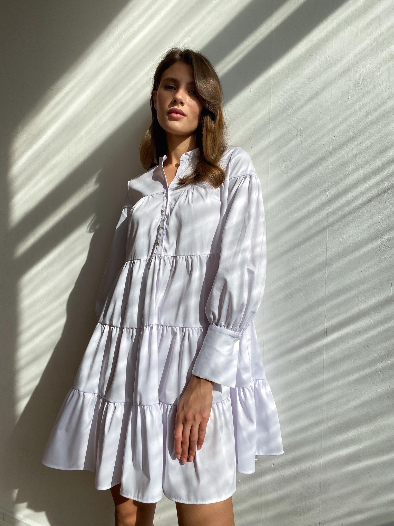 Платье ярусное мини из хлопка (белый)