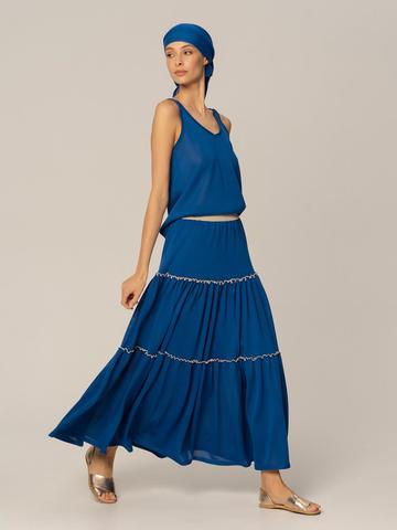 Женская юбка синего цвета из вискозы - фото 2