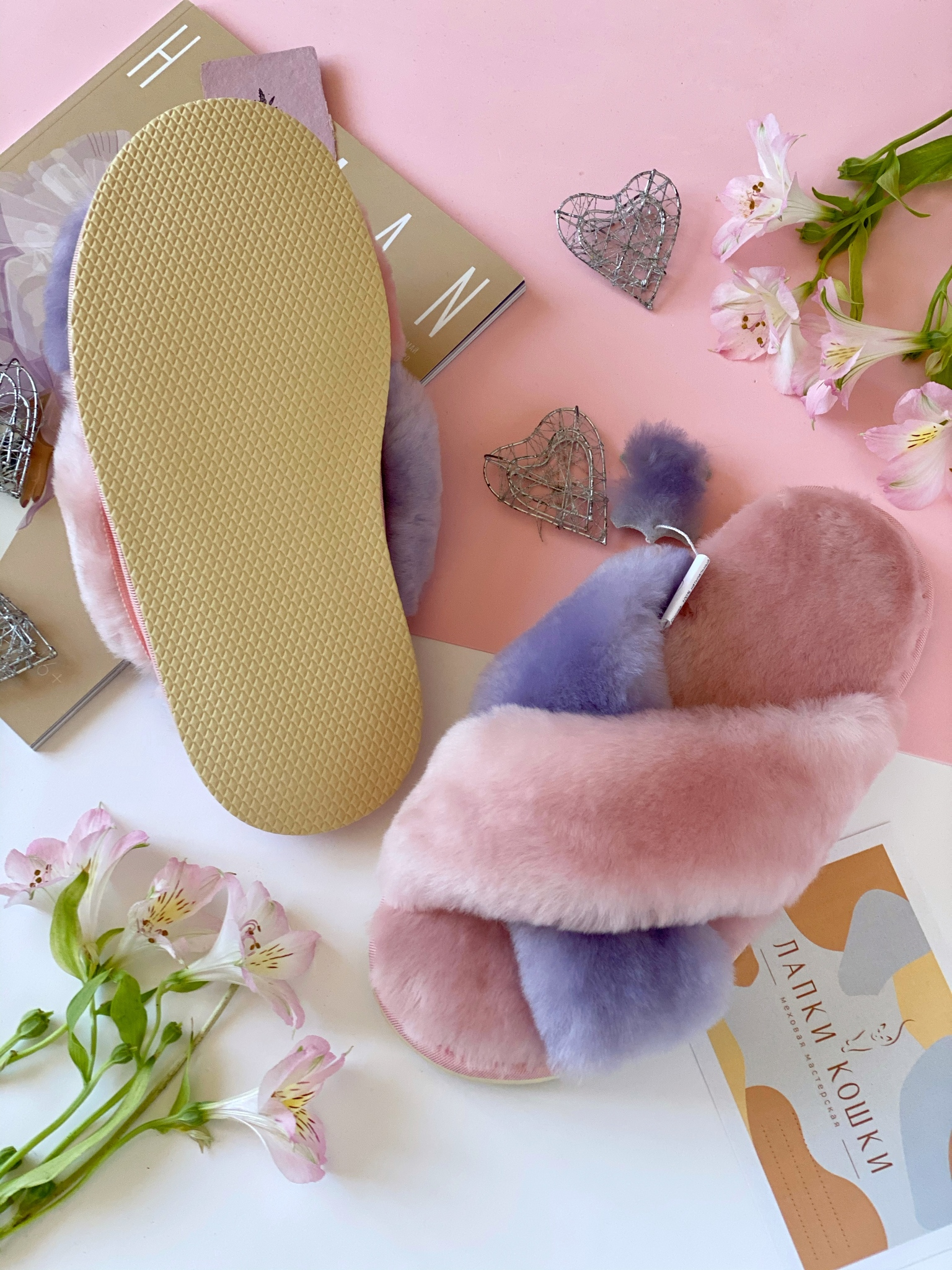 Меховые тапочки розового цвета с перекрестными шлейками контрастными (розовый+сиреневый)