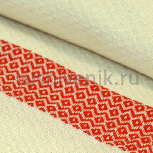 Пештемаль белый с красными полосками
