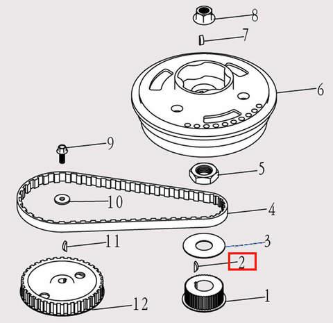 Шпонка шкива коленвала для лодочного мотора F9.8 Sea-PRO (5-2)