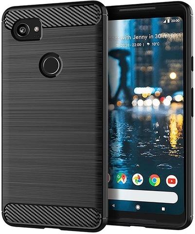 Чехол на Google Pixel2 XL цвет Black (черный), серия Carbon от Caseport