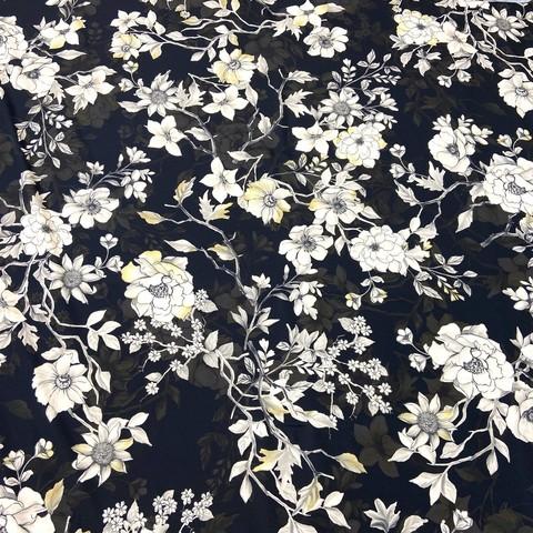Ткань шелк матовый с эластаном бежевые цветы на черном фоне 1091