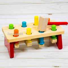 Игрушка стучалка с молоточком деревянная