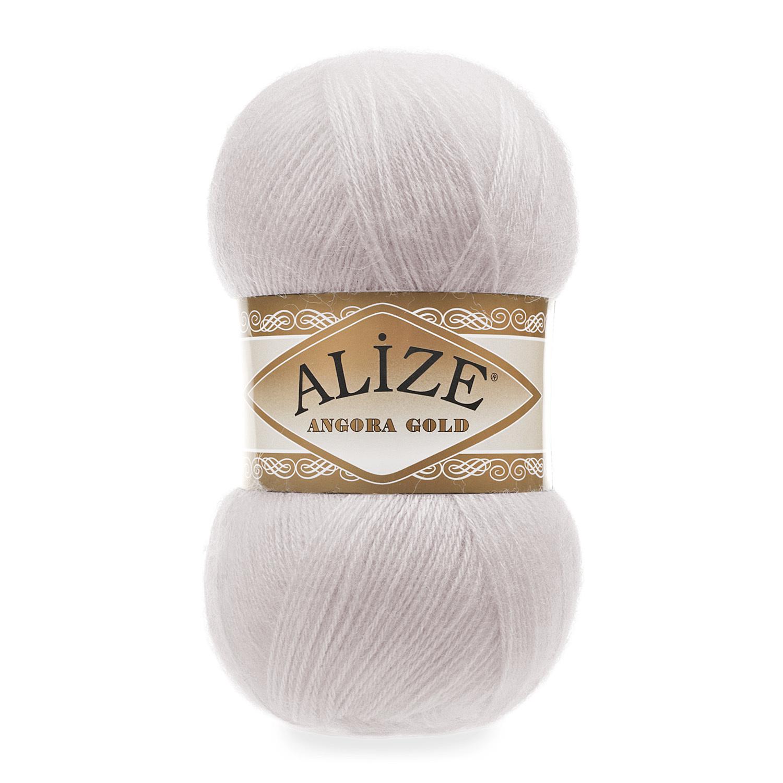 Пряжа Alize Angora Gold 168 белая зима