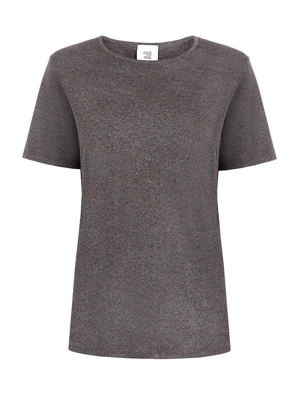 Женская футболка коричневого цвета из вискозы - фото 1