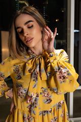 Платье желтое расклешенное купить