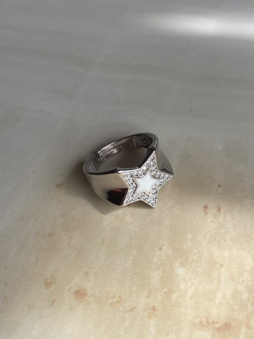 Кольцо Старфолл белое, серебро