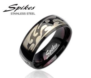 R8020 Черное мужское кольцо с орнаментом («Spikes»)