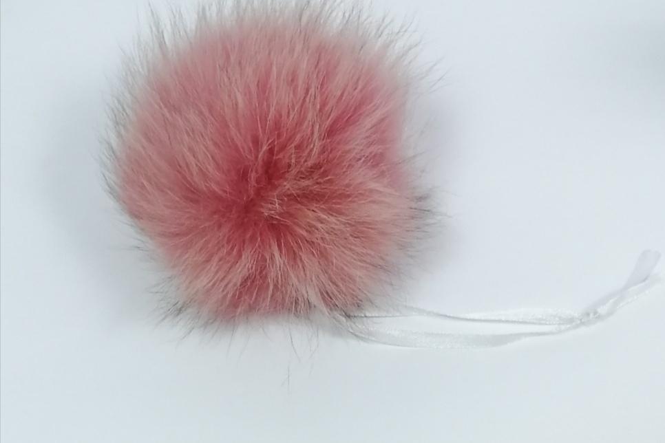 Помпон песец розовый сорбет 14-16 см