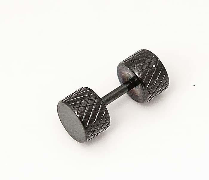 ER465-3 Черные мужские серьги гантели из стали