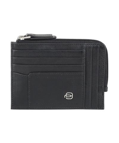 Чехол для кредитных карт Piquadro W82, черный, 8 отделений, 12,5х9х1 см