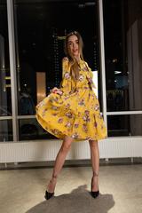 Платье желтое расклешенное недорого
