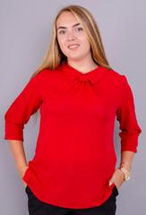 Кортни. Яркая женская блузка плюс сайз. Красный.