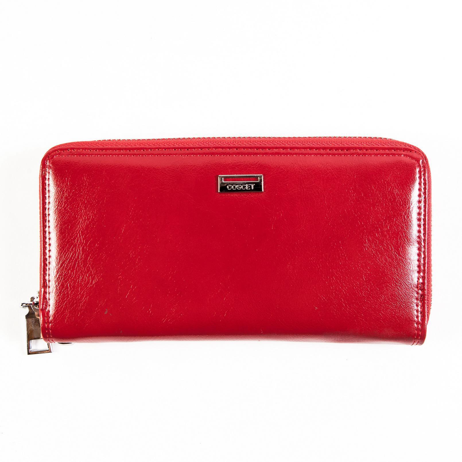 Большой красивый стильный женский красный кошелёк клатч с ремешком для запястья и отделениями для карт Coscet CS208-26B