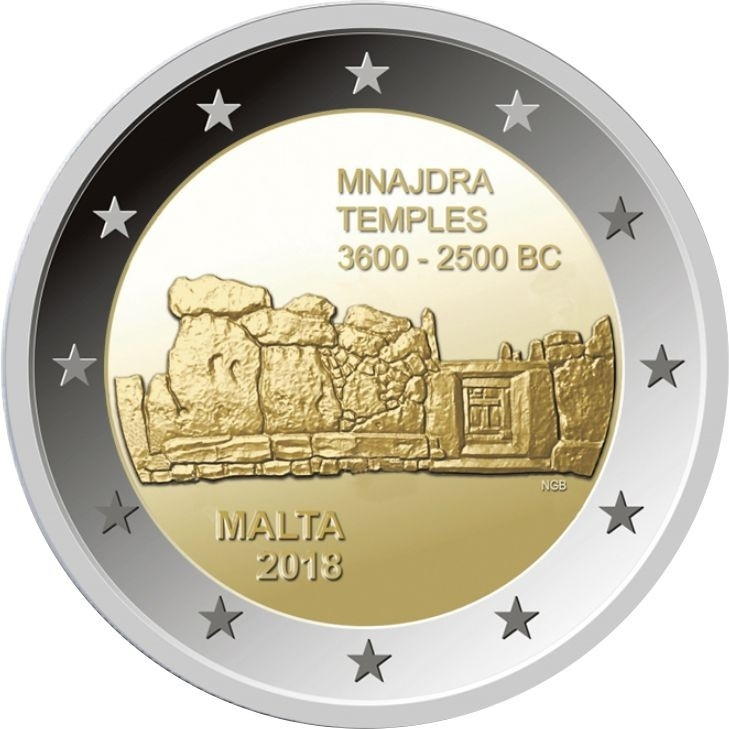 "2 евро Мальта 2018 год ""Храм Мнайдра"""