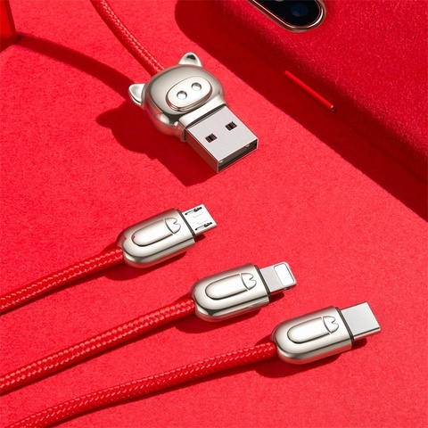 Кабель Baseus 3-in-1 USB Cable of Three Little Pigs USB For M+L+T 3.5A 1.2m Red